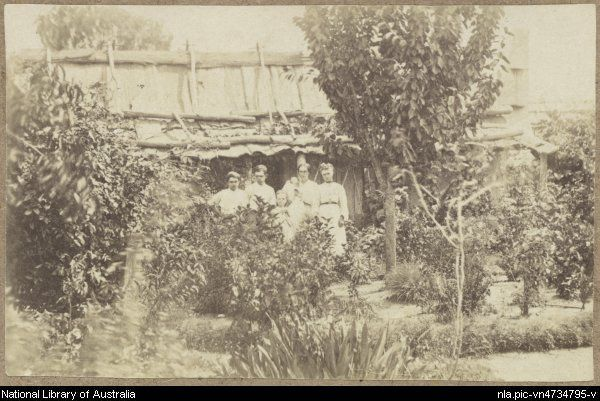 Family in the garden of their slab hut with bark roof, Hill End, New South Wales, ca.1872 [picture].