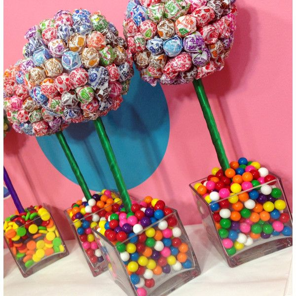 Rainbow Dum Dum Gum Ball Candy Land Centerpiece Topiary, Candy Buffet... ($50) ❤ liked on Polyvore featuring home, home decor, food and candy centerpieces