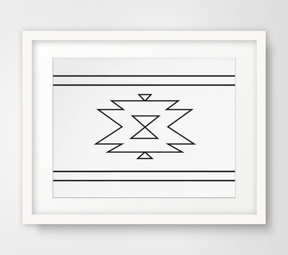 White Aztec Print Aztec Home Decor Navajo by MelindaWoodDesigns