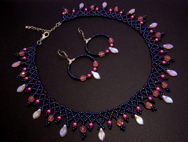 Glass Jewellery Sets – Netted autumn leaves jewellery set – a unique product by DarkEyedJewels on DaWanda