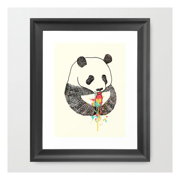 Panda Loves Ice Cream Framed Art Print (475 ZAR) ❤ liked on Polyvore featuring home, home decor, wall art, framed art prints, black home decor, animal wall art, panda wall art, black wall art and framed wall art
