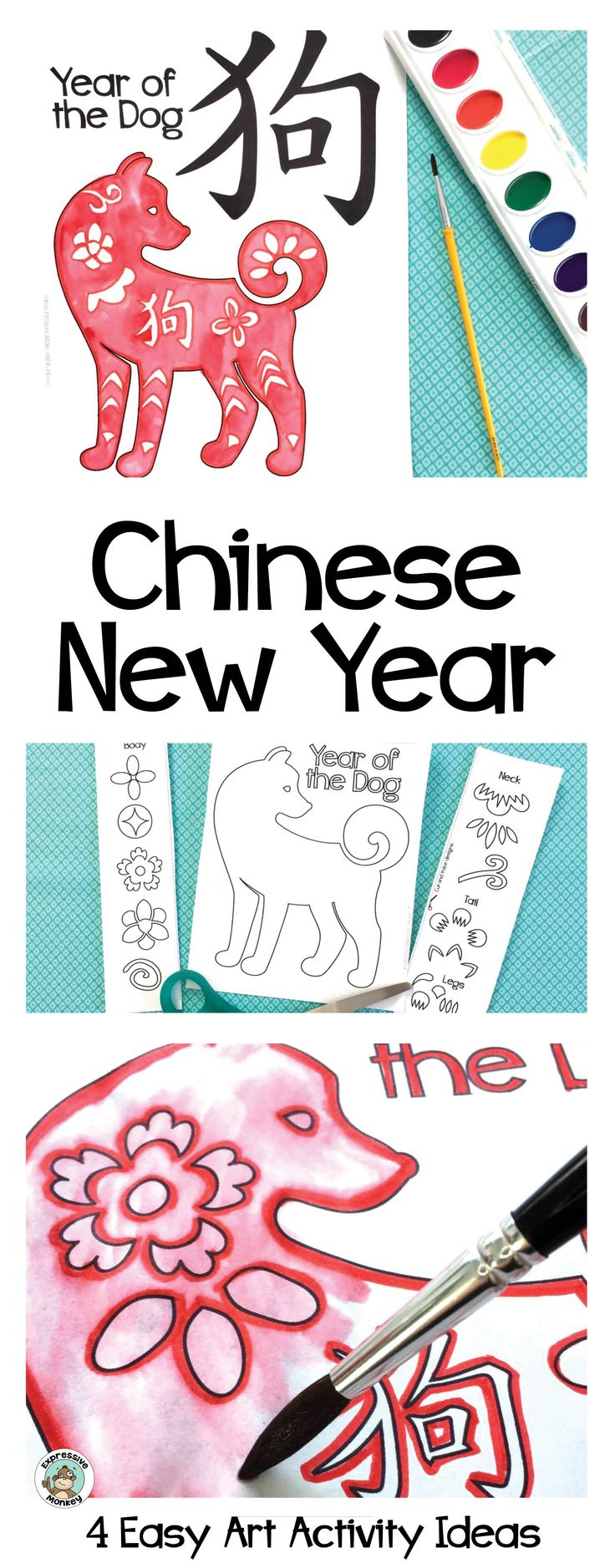 Celebrate the Chinese New Year by making a Year of the Dog craft.  Add Chinese designs to the dog and use one of the 4 easy techniques demonstrated to add some color.
