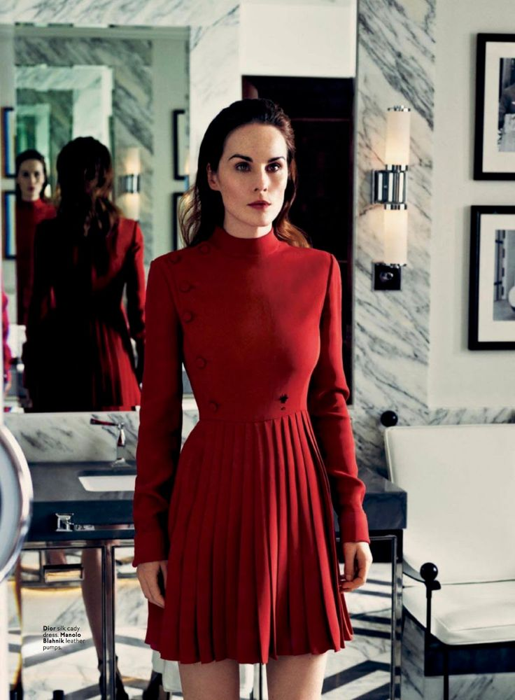 """Lady in Red"" Michelle Dockery for InStyle US March 2017"