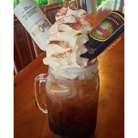 SPIKE CINNAMON LATTE 2 oz (60ml) Espresso 1 1/2 oz (45ml) Cinnabon Pinnacle Vodka 1 oz (30ml) Cafe Liqueur  Add Ice 1 oz (30ml) Cream Whipped Cream  Dash Cinnamon  Mini Bottles of Rumchata & Hazelnut Kahlua