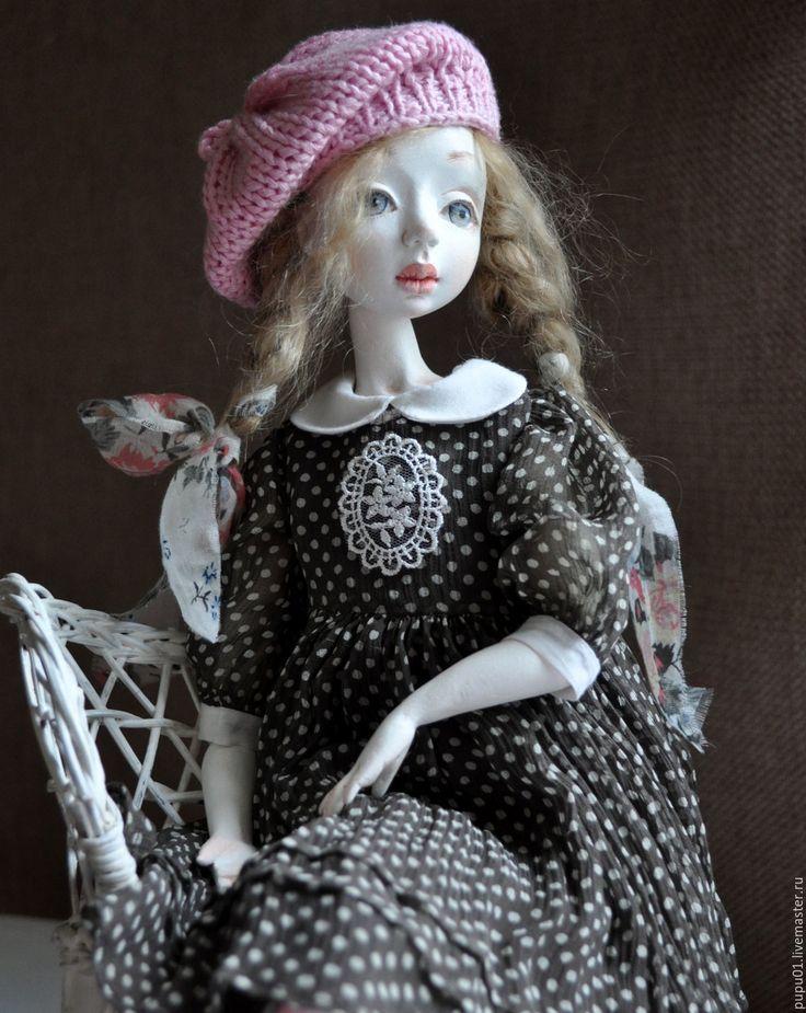 Купить Авторская коллекционная кукла Лидочка - коричневый, кукла ручной работы, кукла авторская