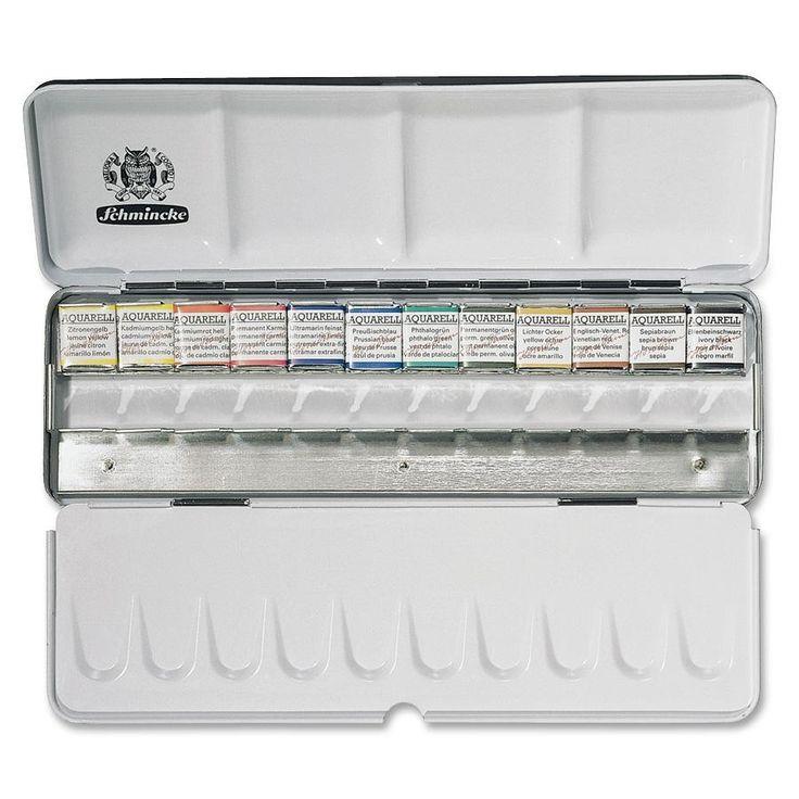 Schmincke Aquarell 12-Color Half Pans (plus 12 open spaces) Metal Box Set SEP74412097
