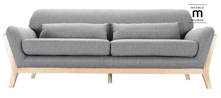 Canapé scandinave 3 places gris pieds bois YOKO pas cher prix promo Canapé Miliboo 539.10 €
