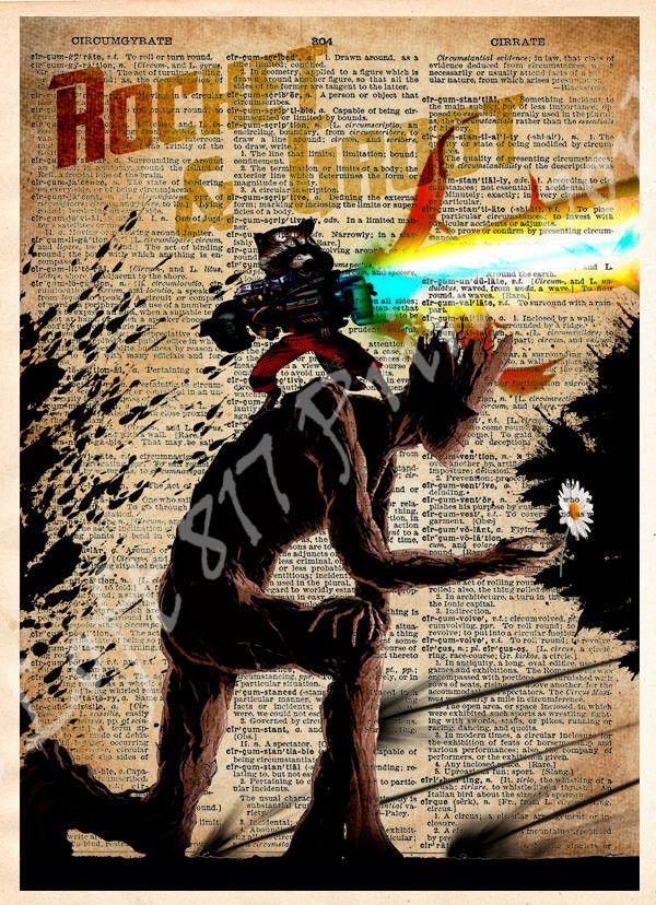 Groot art, Rocket Raccoon art, Rocket and Groot, Guardians of the galaxy wall art, Super hero pop art, Dictionary print art