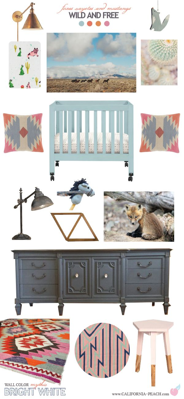 Wild and Free || Nursery Baby Room Style Board || on California Peach || Arizona, Coyote, Wolf, Southwest, Southwestern, Boho, Bohemian, grey, pink, orange, blue, cactus, horse, rabbit, vintage, rustic, nursery, baby room, style board, california peach,