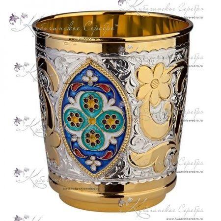 Стакан с позолотой и эмалью на 200 мл , арт №6131 - «Кубачинское серебро»