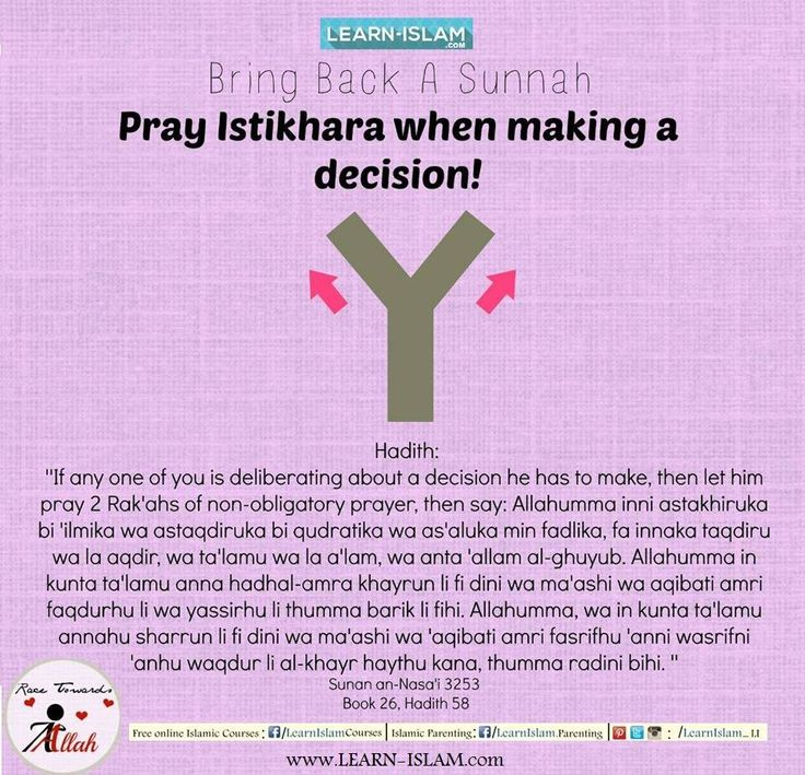 """""""The Messenger of Allaah (peace and blessings of Allaah be upon him) used to teach his companions to make istikhaarah in all things, just as he used to teach them soorahs from the Qur'aan. He said: 'If any one of you is concerned about a decision he has to make, then let him pray two rak'ahs of non-obligatory prayer, then say: (dua of Istikhaara) """" (Reported by al-Bukhaari, 6841; similar reports are also recorded by al-Tirmidhi, al-Nisaa'i, Abu Dawood, Ibn Maajah and Ahmad)."""