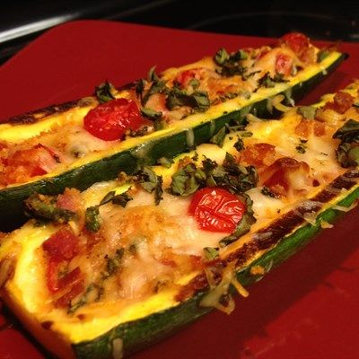 BLT Zucchini Boats | Recipes | Beyond Diet,  may try pizza sauce plus toppings instead.