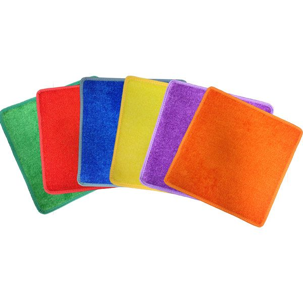 Set of 24 durable carpet squares in six vibrant colors at SCHOOLSin.