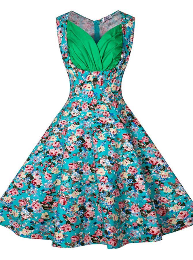 Blue Vintage Style Dresses,Pleated Vintage Style Dresses,Knee-Length Vintage Style Dresses,Floral Cotton Vintage Style Dresses,Hepburn Dresses