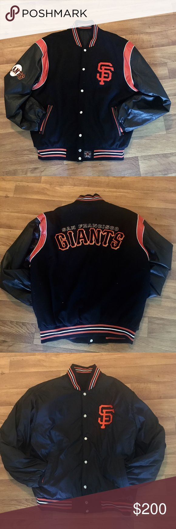 San Francisco Giants Varsity Jacket Who's ready for a trip to AT&T Park for a game?! This men's leather and polyester REVERSIBLE varsity jacket is in perfect condition! Originally purchased for $300 at Wilson's Leather. The Brand is JH Design by Wilsons Leather. Features a patch on one leather sleeve as well as a logo on each side of the jacket. Make this jacket yours today! Perfect for Father's Day just around the corner! Wilsons Leather Jackets & Coats Bomber & Varsity