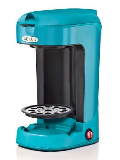 This BELLA Turquoise One Scoop One Cup Coffee Maker features a compact design takes up little ...