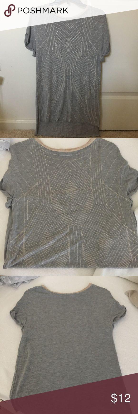 Shiny zara tshirt Beautiful zara tshirt with shiny details. Like new one time used. Zara Tops Tees - Short Sleeve