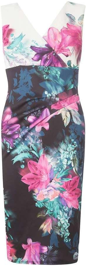 **Scarlett B Multi Coloured Megan Wrap Bodycon Dress