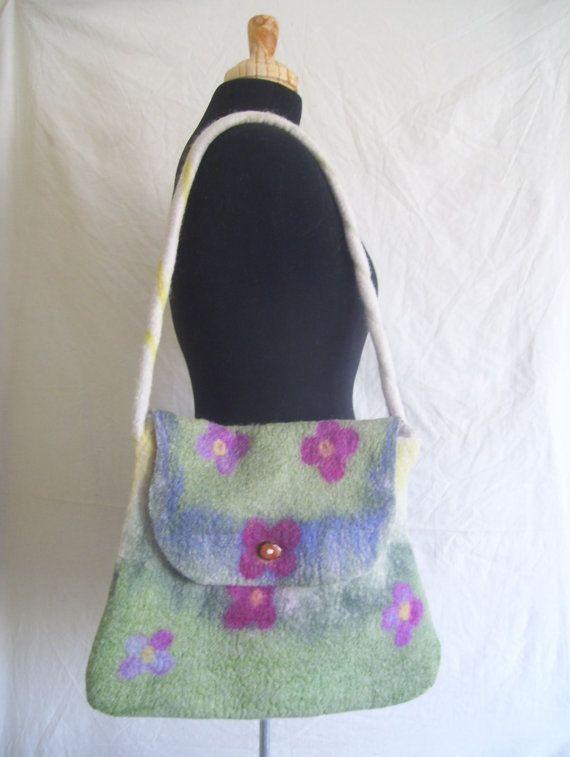 Handmade felt bag hand-dyed Corriedale wool nuno by CleoDeLana