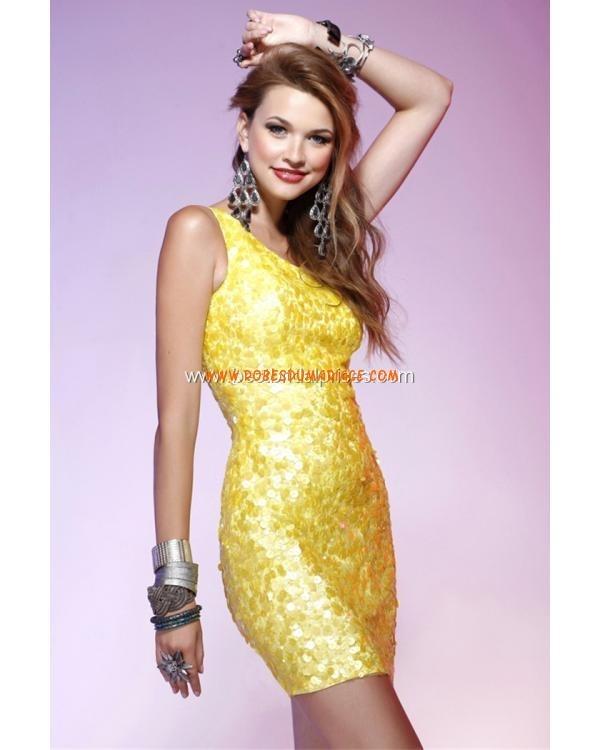 Boutique robe de soirée 2012 courte asymétrique décorée de paillettes Style Q4109