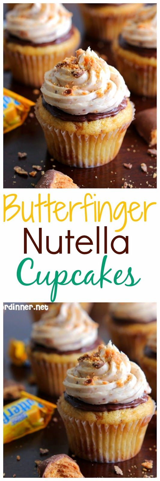 Butterfinger Nutella Cupcakes - Both the cupcake and frosting are loaded with crushed Butterfingers.  These are DIVINE.
