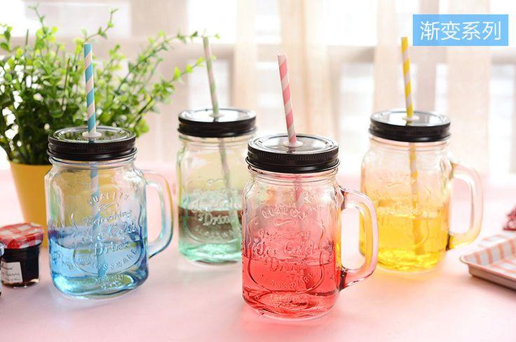 Γυάλινο Vintage βάζο - ποτήρι με καλαμάκι ! για το χυμό , την γρανίτα , τον καφέ σας.  Οτι πιό must ( απαραίτητο ) για το φετινό καλοκαίρι !Jar glass _