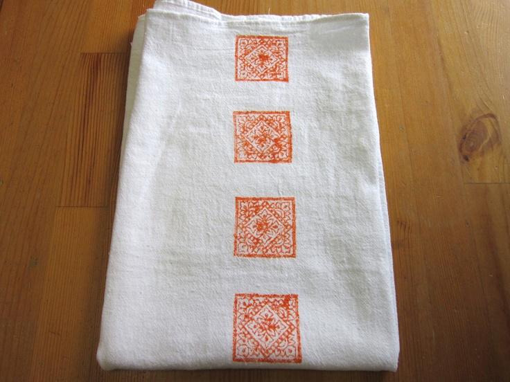 1 orange India block print tea towel
