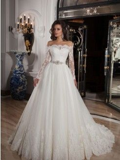 Ball Gown Off-the-Shoulder Neckline Court Train Satin Wedding Dress With Lace