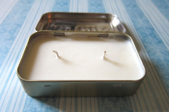 altoid tin candle. This really needs a few waterproof matches included, and some fine sandpaper glued to the inside lid.