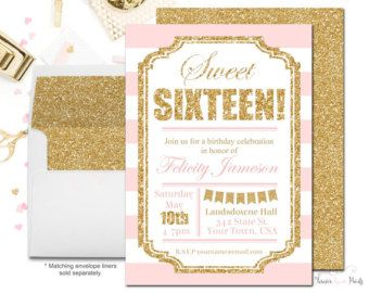 Black and Gold Sweet 16 Invitations Girls door ForeverYourPrints