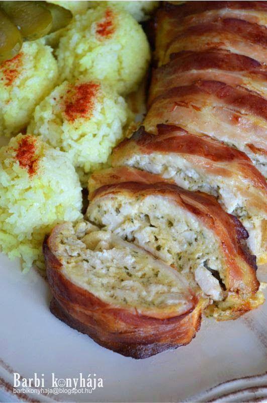 Hozzávalók 1 rúdhoz:  3 nagyobb csirkemell filé  300-400 g szeletelt bacon  3 csapott evőkanál zablis...