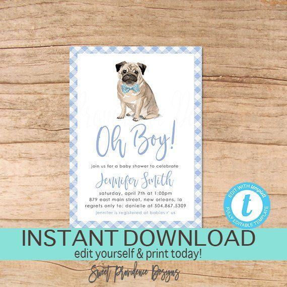 Dog Baby Shower Invitation Oh Boy Blue