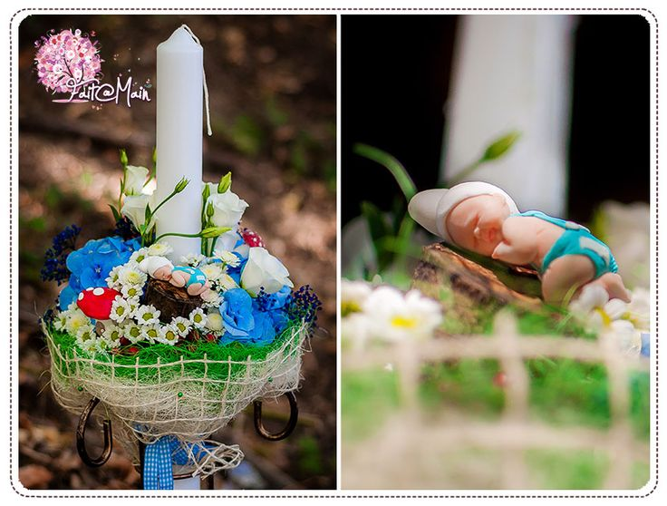 """Baby Smurf"" christening candle www.facebook.com/faitamain www.simplyhappy.ro"