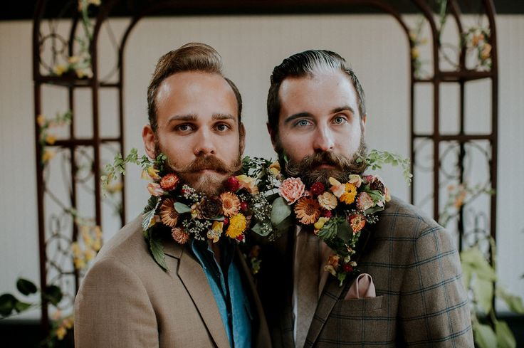 Wes Anderson wedding featuring The Gay Beards // floral hipster beard