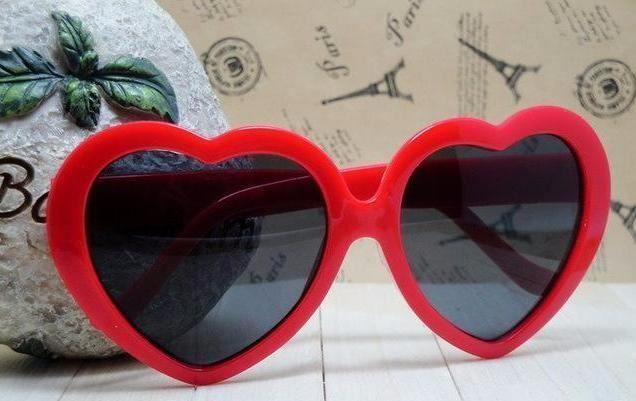 Women Summer Style Heart Shaped Acrylic Material Mirror Lens Sunglass