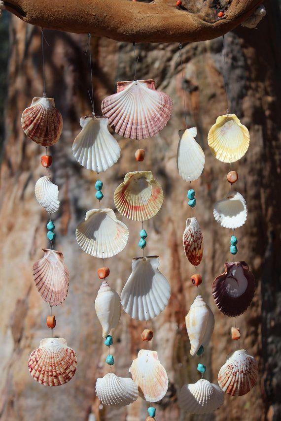 Bois flotté coquillage carillons éoliens Sea par seashorewindchimes
