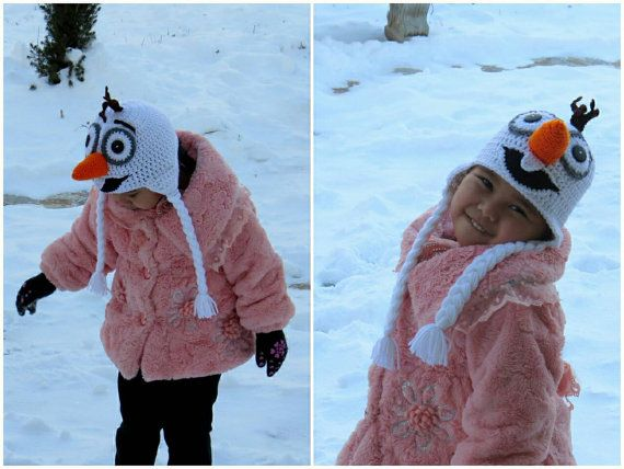 Crochet Olaf Hat  From the Movie Frozen by Maiwear on Etsy