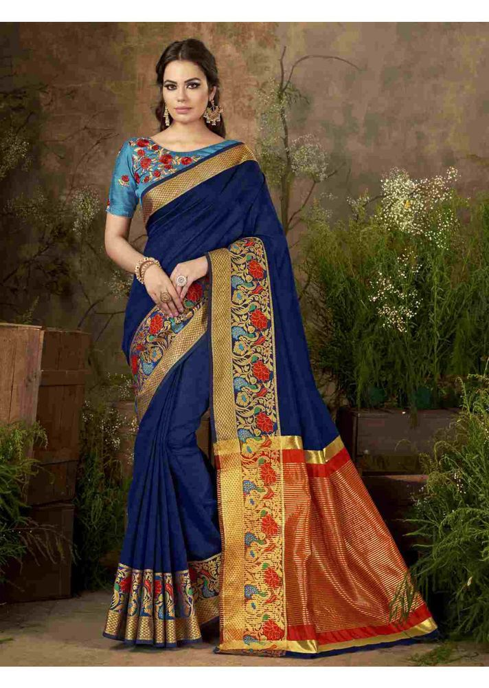 37cd112f412dc Indian Bollywood Designer Blue Color Cotton Silk Festival Wear Woven Saree  SS  Sareeswag  TraditionalSaree