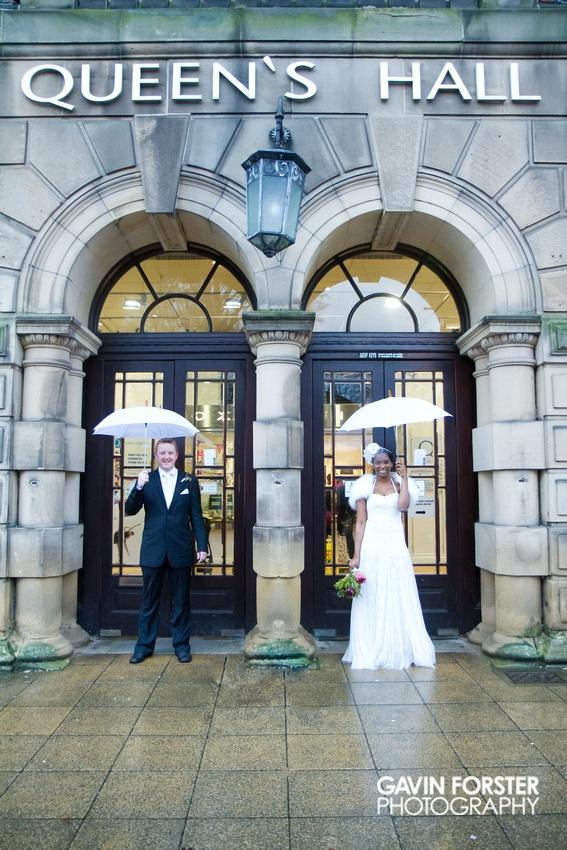 wedding shot from hexham, northumberland in december.