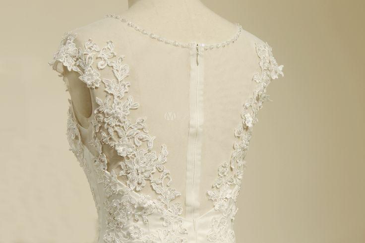 Marfim casamento vestido sereia Applique frisado tule vestido de noiva-No.4