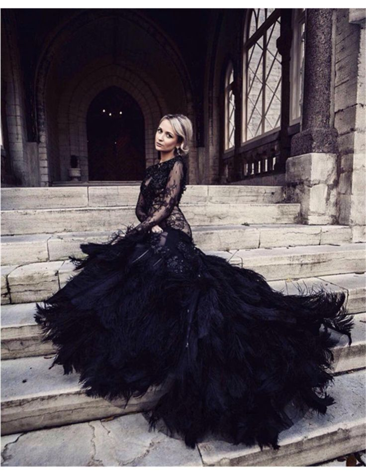 578 best black wedding dresses images on pinterest for Wedding dress with ostrich feathers