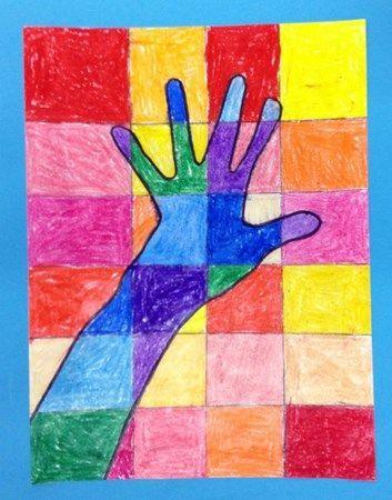 2nd Grade - Warm/Cool Hands - Crayons. Borrowed from the wonderful http://artolazzi.blogspot.com/