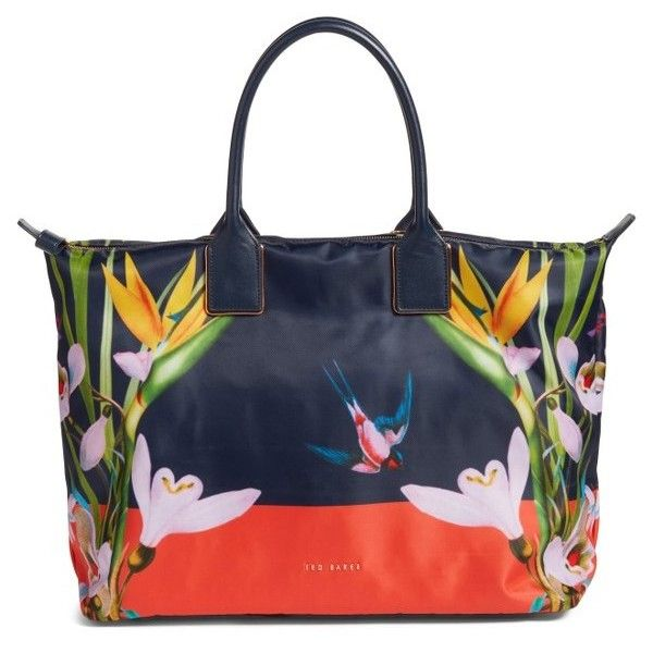 Women's Ted Baker London Tropical Oasis Large Tote ($175) ❤ liked on Polyvore featuring bags, handbags, tote bags, navy, ted baker, handbags totes, navy tote bag, ted baker tote bag and ted baker tote