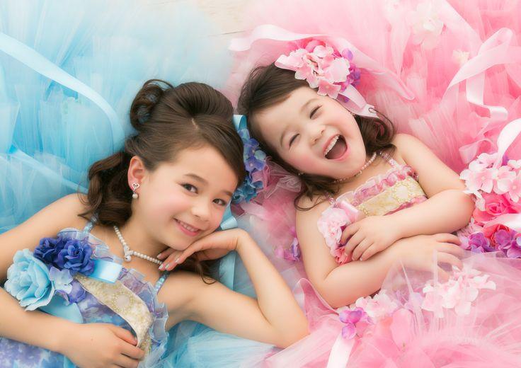 七五三 七歳 三歳 ドレス 姉妹 撮影 可愛い