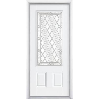 36 in x 80 in halifax 3 4 rectangle lite primed steel prehung front door with brickmold home for How to install a prehung exterior steel door
