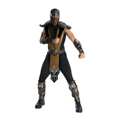 Modelled after one of the best known playable characters and bosses in the Mortal Kombat franchise, this Scorpion Kostume includes a jumpsuit, attached gold tabbard, molded armour pieces, the belt with skull accent, and the intricately detailed character mask.  Available in Adult Standard Size: One Size Fits Most. <li Jumpsuit/Tabbard Armor Pieces Belt Mask. Does not include shoes. This is an officially licensed Mortal Kombat product.