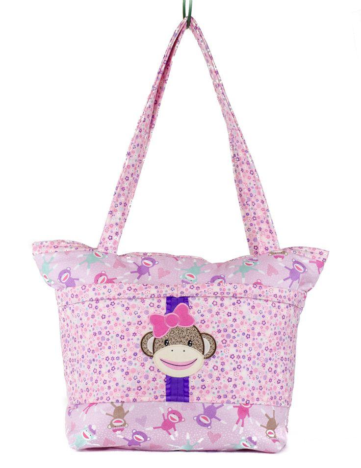 Diaper Bag, Sock Monkey Baby Shower, Pink, Sock Monkey Girl, Monkey Baby Shower, Nature Lover, Nature Baby, Baby Bag, Girl Diaper Bag by SewBusyBags on Etsy
