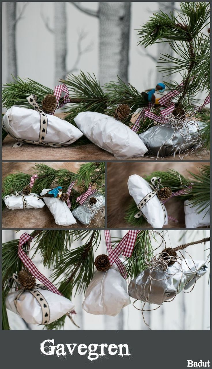 Kreativ gaveindpakning gaver på gren