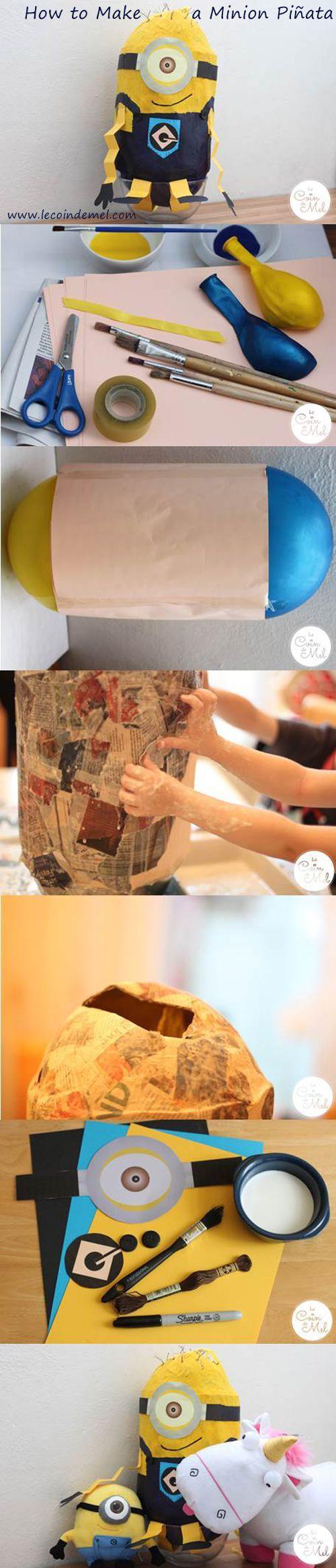 Algo más para niños puede ser alguno de los Minions, partiendo de papel y globos (les encantará, no tienes por qué complicarte):