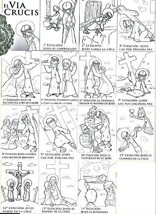 Via Crucis para colorear - Semana Santa -http://aprendiendoconjulia.com/2013/03/colorea-el-via-crucis/